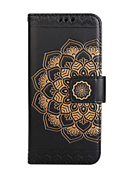 For iPhone 8 iPhone 8 Plus Case Cover Card Holder Wallet Flip Embossed Pattern Full Body Case Mandala Flower Hard PU Leather for Apple