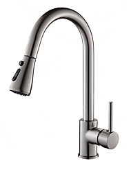 cheap -Fashion Modern/Contemporary Standard Spout Pull-out/­Pull-down Vessel Widespread Rotatable Pull out Ceramic Valve Nickel Brushed, Kitchen