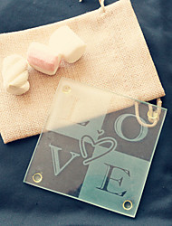 1pcs/bag - LOVE Glass Coaster in Burlap Bag Wedding Party Favor Beter Gifts® Life Style