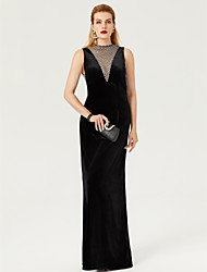 cheap -Sheath / Column High Neck Floor Length Velvet Cocktail Party / Formal Evening / Black Tie Gala Dress with Lace by TS Couture®