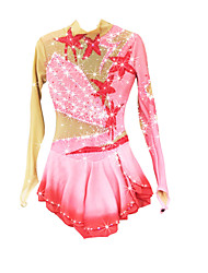Figure Skating Dress Women's Girls' Ice Skating Dress Pale Pink Spandex Chinlon High Elasticity Jeweled Rhinestone Performance Keep Warm