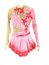 Robe de Patinage Artistique Femme Fille Robe de Patinage Rose Pale Spandex Chinlon Haute élasticité A Bijoux Strass Utilisation Garder au
