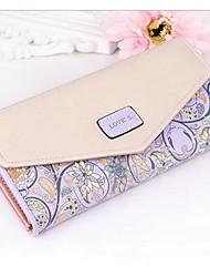 cheap -Women's Bags PU Checkbook Wallet for Casual All Seasons Pale Blue Cyan Light Purple