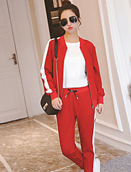cheap -Women's Daily Sports Casual Spring Hoodie Pant Suits,Solid Crew Neck Long Sleeve 100% Cotton