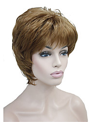New Arrival Short Straight Brown Highlights Gray Synthetic Hair Full wig Women's Thick Wig For Everyday