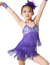 cheap -Latin Dance Outfits Children's Training Spandex Sequined Sequin Tassel Sleeveless Natural