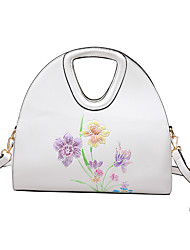 Women Bags All Seasons PU Shoulder Bag Pattern / Print for Casual White Black Blushing Pink