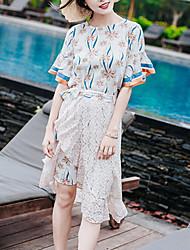 Chemisier Robes Costumes Femme,Fleur Quotidien Décontracté Sortie Décontracté / Quotidien Décontracté Actif Doux Eté AutomneManches