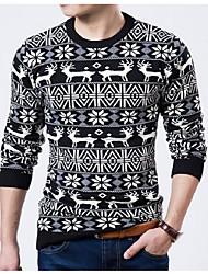 cheap -Men's Casual Chinoiserie Regular Pullover,Animal Print Round Neck Long Sleeves Cotton Blend Winter Medium Micro-elastic
