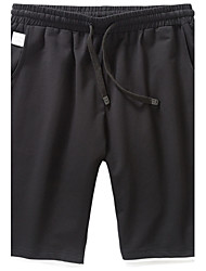 Men's Mid Rise Micro-elastic Shorts Pants,Simple Active Relaxed Straight Pure Color Solid