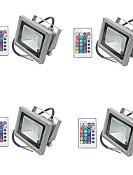 4pcs RGB 10W Led Flood Light 900LM IP65 Reflector Floodlight with Remote Control Waterproof for Garden Lamp Outdoor Lighting AC85-265V