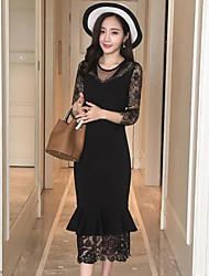cheap -Women's Going out Lace Dress,Solid Round Neck Midi 3/4 Length Sleeves Lace Spring Mid Rise Micro-elastic Medium