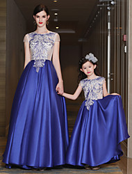 A-Line Jewel Neck Sweep / Brush Train Satin Tulle Mikado Formal Evening Dress with Beading Lace Pockets Bandage by QZ