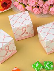 cheap -12 Piece/Set Favor Holder - Creative Card Paper Favor Box - Wedding Pink Ribbon 5.2x5.2x5.2 Beter Gifts® DIY Party Decor