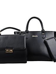 preiswerte -Damen Taschen PU Bag Set 3 Stück Geldbörse Set für Normal Ganzjährig Weiß Schwarz Rote Rosa Grau