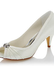 cheap -Women's Heels Comfort Summer Fall Satin Wedding Party & Evening Rhinestone Cone Heel Beige 2in-2 3/4in