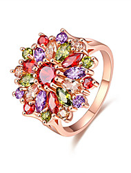 preiswerte -Damen Kubikzirkonia Roségold Kubikzirkonia Ring - Blume Elegant nette Art Modisch Verschiedene Farben Ring Für Hochzeit Jahrestag Party