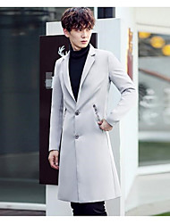 Men's Casual/Daily Simple Spring Trench Coat,Solid Letter Notch Lapel Long Sleeve Long Polyester