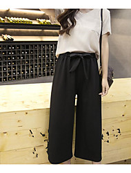 Women's High Waist Micro-elastic Loose Wide Leg Pants,Simple Relaxed Pure Color Chiffon Solid Sexy