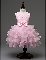 Apricot New Fashion Kids Evening Party/Wedding/Dress Girls with Bow Knot/Diamond Accessory Flower Dresses for 2~10Yrs