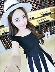 Women's Casual Tunics Summer T-shirt Skirt Suits,Solid Round Neck Short Sleeve strenchy