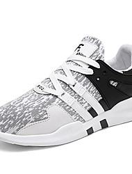 Men's Sneakers Comfort Spring Summer Fall Winter Tulle Walking Shoes Casual Party & Evening Outdoor Lace-up Flat Heel Black/White