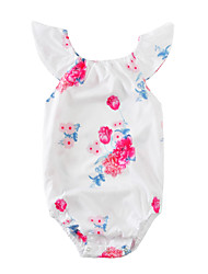 Une-Pièce bébé Fleur Imprimé Coton Eté Manches Courtes