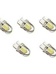 1W DC12V White T10 2COB Decorative Lamp Reading Light License Plate Light Door Lamp 5PCS