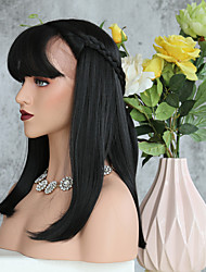cheap -Kinky Straight Middle Part Synthetic Lace Front Wigs With Bang For Women Heat Resistant Lace Front Realistic Wig In 1b