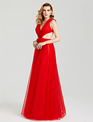 A-Line V Neck Floor Length Tulle Evening Party Formal Dress with Side Draping Pleats by TS Couture®