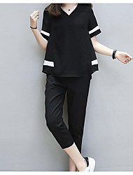cheap -Women's Casual / Daily Blouse - Solid Colored Color Block Pant V Neck