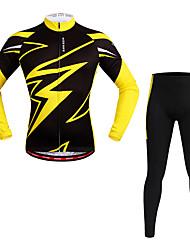 WOSAWE Fahrradtrikots mit Fahrradhosen Unisex Langarm Fahhrad Kleidungs-Sets Feuchtigkeitsabsorbierend Schnell trocken Reflexstreiffen