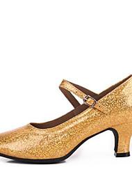Недорогие -Для женщин Современный Дерматин На каблуках Для закрытой площадки С пряжкой На толстом каблуке Золотой Серебряный Серый Красный 5,5 см