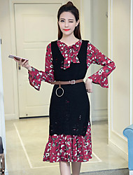 Women's Daily Soak Off Summer Blouse Dress Suits,Floral Print Round Neck Long Sleeve