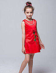 guaina / colonna breve / mini abito ragazza fiore - collo di giada sleeveless satinato con applique da bflower