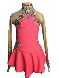 cheap -Figure Skating Dress Women's / Girls' Ice Skating Dress Pink+Red Spandex Rhinestone / Appliques High Elasticity Performance Skating Wear