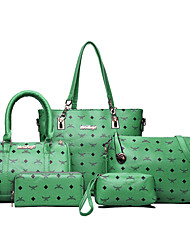 cheap -Women Bags PU Bag Set Pattern / Print for Casual Office & Career All Seasons Blue White Black Red Light Green