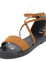 Women's Sandals Light Soles Summer Cowsuede Leather Walking Shoes Casual Dress Buckle Flat Heel Black Beige Dark Brown Flat