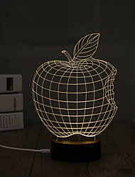 1 Set, Popular Home Acrylic 3D Night Light LED Table Lamp USB Mood Lamp Gifts, Apple