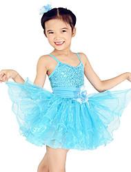 Abbigliamento da ballo per bambini Abiti Per bambini Addestramento Elastene Paillettes Tulle Senza maniche Naturale