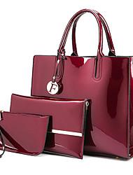baratos -Mulheres Bolsas PU Conjuntos de saco Ziper Roxo / Vinho / Azul Real