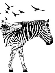 cheap -Cartoon Zebra Wall Stickers Birds Tree Horse PVC Wall Decals Home Decor For Baby Kids Room Living Room