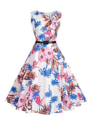 Women's Party Holiday Casual/Daily Vintage Street chic Sheath Swing Dress,Floral Round Neck Knee-length Sleeveless Polyester SummerMid