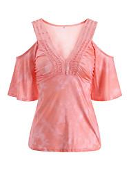 preiswerte -Damen Einfache Patchwork T-shirt, V-Ausschnitt Lose Ausgehöhlt Polyester