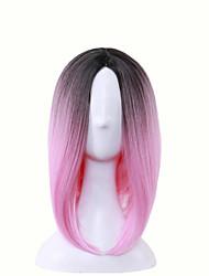 abordables -Pelucas sintéticas Recto Rosa Corte Bob / Corte asimétrico Pelo sintético Raya en medio / Entradas Naturales Rosa Peluca Mujer Corta / Media Sin Tapa