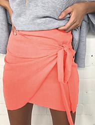 Damen Sexy Vintage Arbeit Ausgehen Lässig/Alltäglich Mini Röcke Bodycon,Geschlitzt einfarbig Ganzjährig