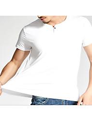 billige -Rund hals Herre - Ensfarvet Aktiv T-shirt Bomuld