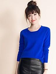 economico -Standard Pullover Da donna-Casual Semplice Tinta unita Rotonda Manica lunga Cashmere Autunno Medio spessore Media elasticità