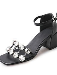 Women's Sandals Fashion Club Shoes Spring Summer PU Party/Evening Daily Going out Rhinestone Buckle Chunky Heel Black 2in-2 3/4in