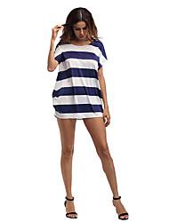 Damen Lose Kleid-Lässig/Alltäglich Klub Strand Festtage Ausgehen Sexy Street Schick Gestreift Rundhalsausschnitt Mini Kurzarm Polyester